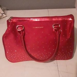 Victoria Secret red purse with zipper on the top